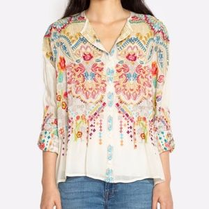JOHNNY WAS Embroidered Valley Button Down Blouse